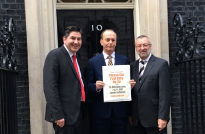Petition for Fuel Duty cut is delivered to Downing Street