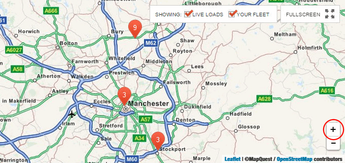 Find lorry loads on the Returnloads net interactive map